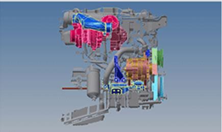 写真:エンジン補機類の取付位置測定